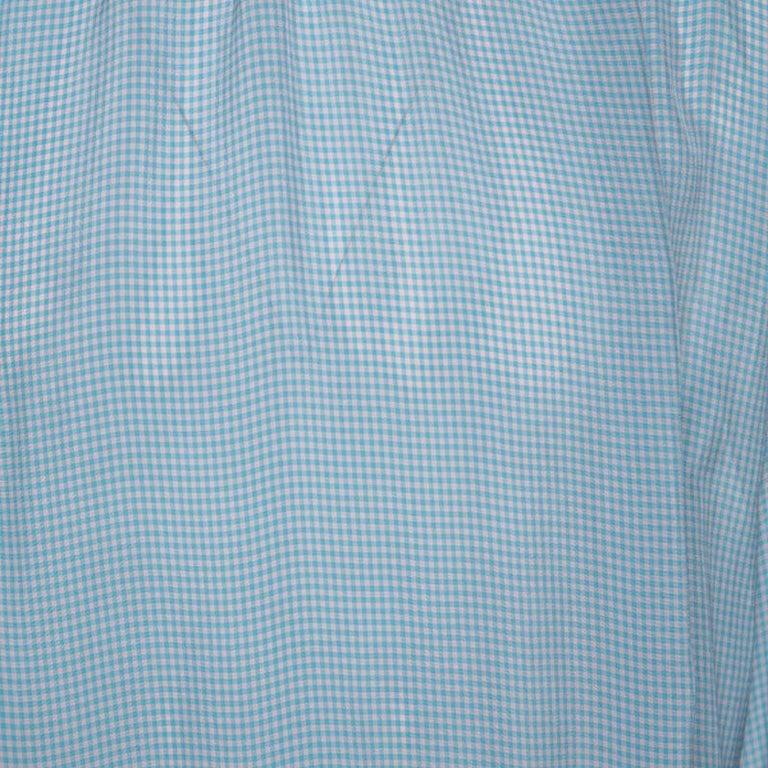 Men's Gucci Blue Checked Crepe Ruffle Trim Shirt XXL For Sale