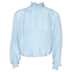 Gucci Blue Checked Crepe Ruffle Trim Shirt XXL