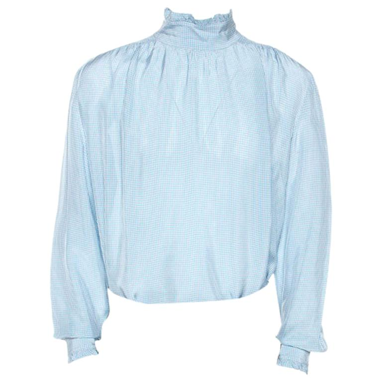 Gucci Blue Checked Crepe Ruffle Trim Shirt XXL For Sale