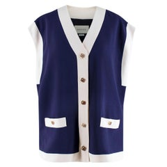 Gucci Blue Crepe Oversized Cady Vest - Size XS