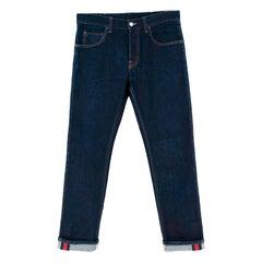 Gucci Blue Denim Web Trim Jeans - Size 32