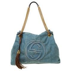 Gucci Blue Distressed Denim Medium Soho Tote