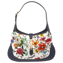 Gucci Blue Flora Print Jackie Medium Hobo Bag
