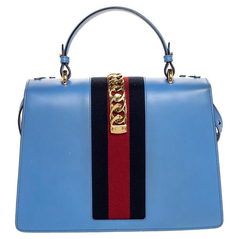 Gucci Blue Floral Embroidered Leather Medium Sylvie Top Handle Bag For Sale 6