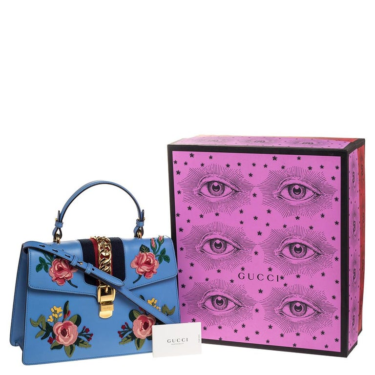 Gucci Blue Floral Embroidered Leather Medium Sylvie Top Handle Bag For Sale 9