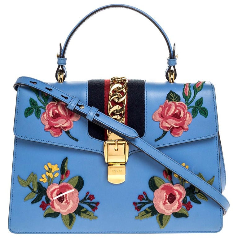 Gucci Blue Floral Embroidered Leather Medium Sylvie Top Handle Bag For Sale