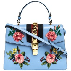 Gucci Blue Floral Embroidered Leather Medium Sylvie Top Handle Bag