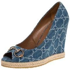 Gucci Blue GG Denim Charlotte Horsebit Peep Toe Wedge Pumps Size 39.5