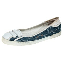 Gucci Blue GG Monogram Denim And White Leather Ballet Flats Size 36.5