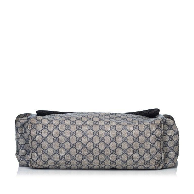 cf650e79d415d5 Gucci Blue GG Plus Diaper Bag In Good Condition For Sale In Orlando, FL