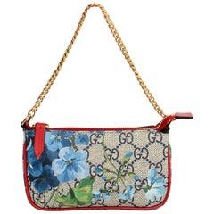 Gucci Blue GG Supreme Monogram Blooms Print Mini Chain Bag