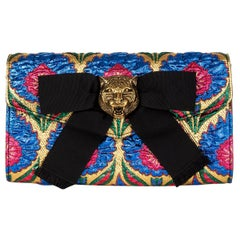 GUCCI blue gold ANIMALIER BROADWAY BROCADE Clutch Bag