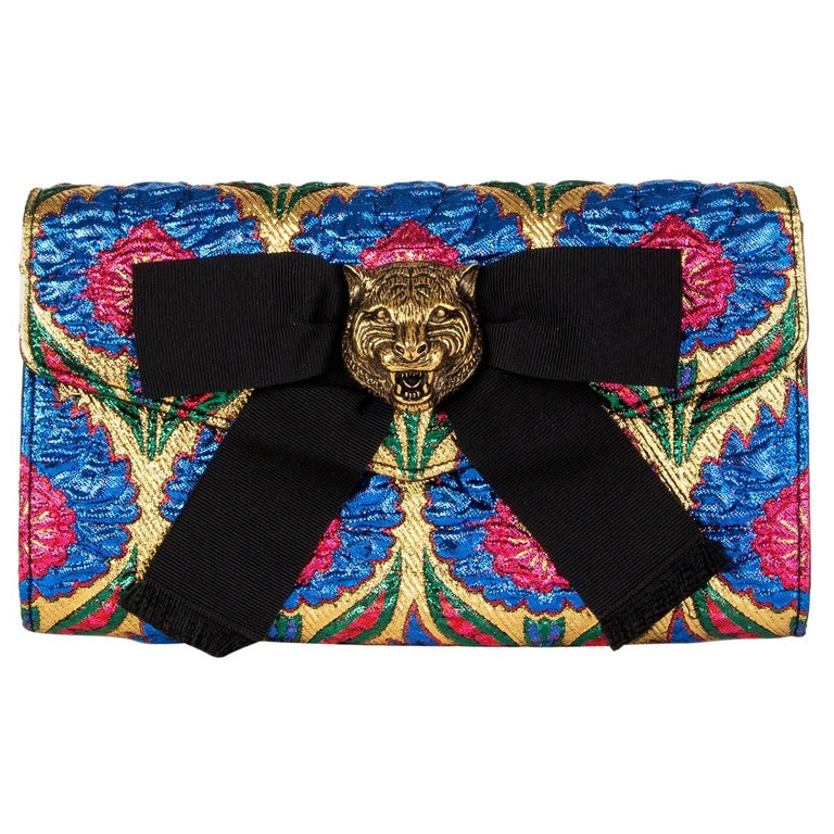GUCCI blue gold ANIMALIER BROADWAY BROCADE Clutch Bag For Sale