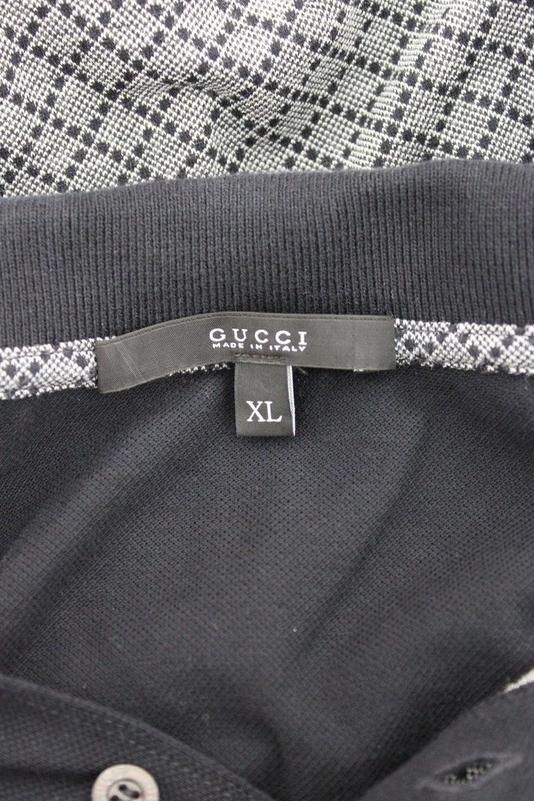 Men's Gucci Blue Gray Cotton Check Polo Shirt 2000s  For Sale