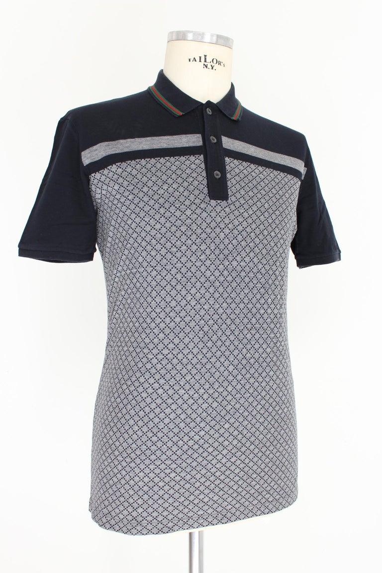 Gucci Blue Gray Cotton Check Polo Shirt 2000s  For Sale 1