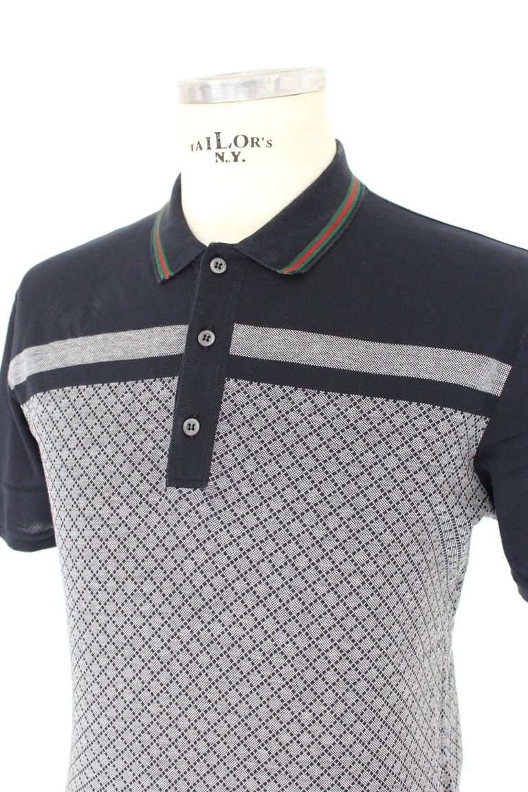 Gucci Blue Gray Cotton Check Polo Shirt 2000s  For Sale 2