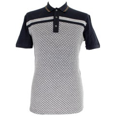 Gucci Blue Gray Cotton Check Polo Shirt 2000s