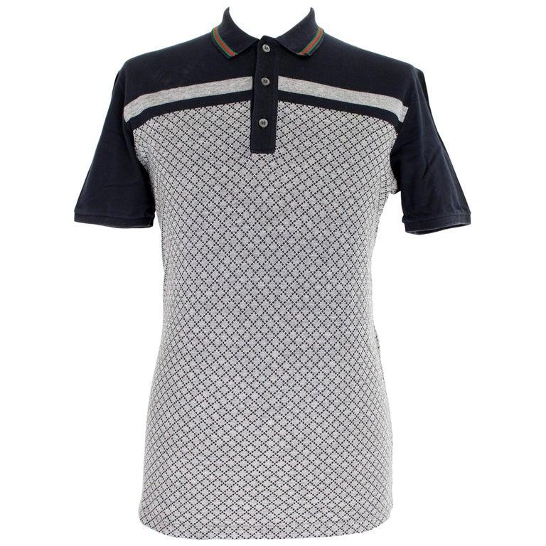 Gucci Blue Gray Cotton Check Polo Shirt 2000s  For Sale