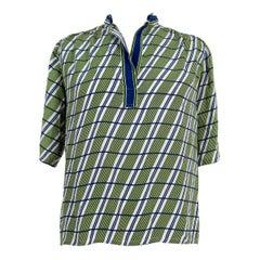 Gucci Blue Green Silk Pinstripe Shirt Polo 1980s