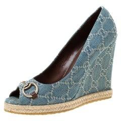 Gucci Blue Guccissima Canvas Horsebit Peep Toe Wedge Platform Pumps Size 39