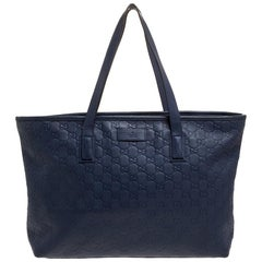 Gucci Blue Guccissima Leather Shopper Tote