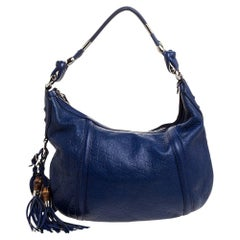 Gucci Blue Guccissima Leather Techno Horsebit Medium Hobo