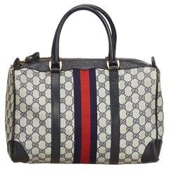 Gucci Blue Guccissima Web Canvas Boston Bag