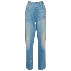 Gucci Blue Heavy Washed Denim Embroidered Tapered Jeans L