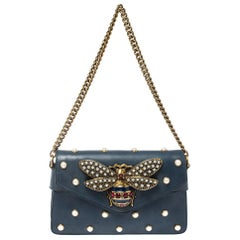 Gucci Blue Leather Broadway Pearly Bee Shoulder Bag