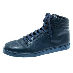Gucci Blue Leather Diamante High Top Sneakers Size 43.5