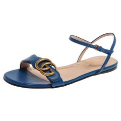 Gucci Blue Leather GG Marmont Ankle Strap Slide Flats Size 36.5
