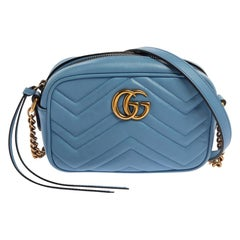 Gucci Blue Leather GG Marmont Camera Crossbody Bag