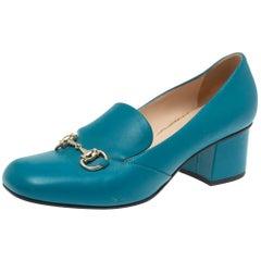 Gucci Blue Leather Horsebit Block Heel Loafer Pumps Size 38