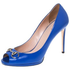 Gucci Blue Leather Horsebit Peep Toe Pumps Size 39.5