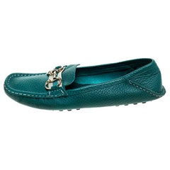 Gucci Blue Leather Horsebit Slip On Loafers Size 39
