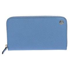 Gucci Blue Leather Interlocking G Zip Around Wallet