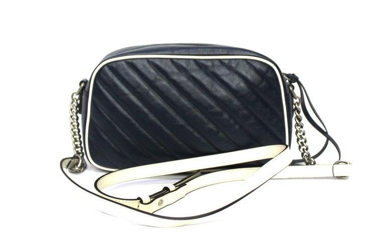 Black Gucci Blue Leather Marmont Camera Bag