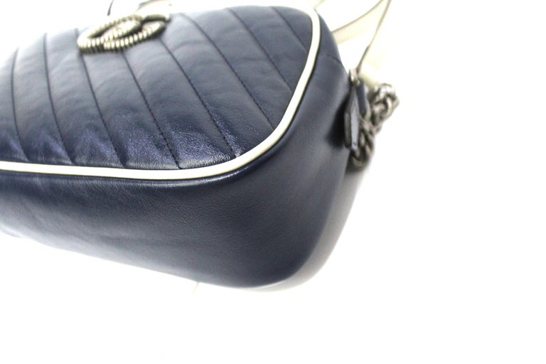Women's Gucci Blue Leather Marmont Camera Bag