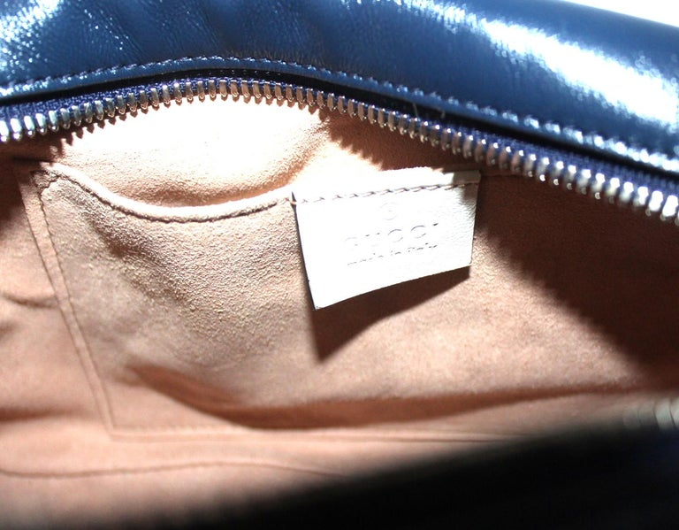 Gucci Blue Leather Marmont Camera Bag  1