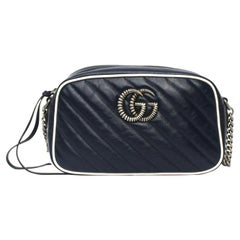 Gucci Blue Leather Marmont Camera Bag