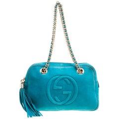 Gucci Blue Leather Medium Soho Chain Shoulder Bag