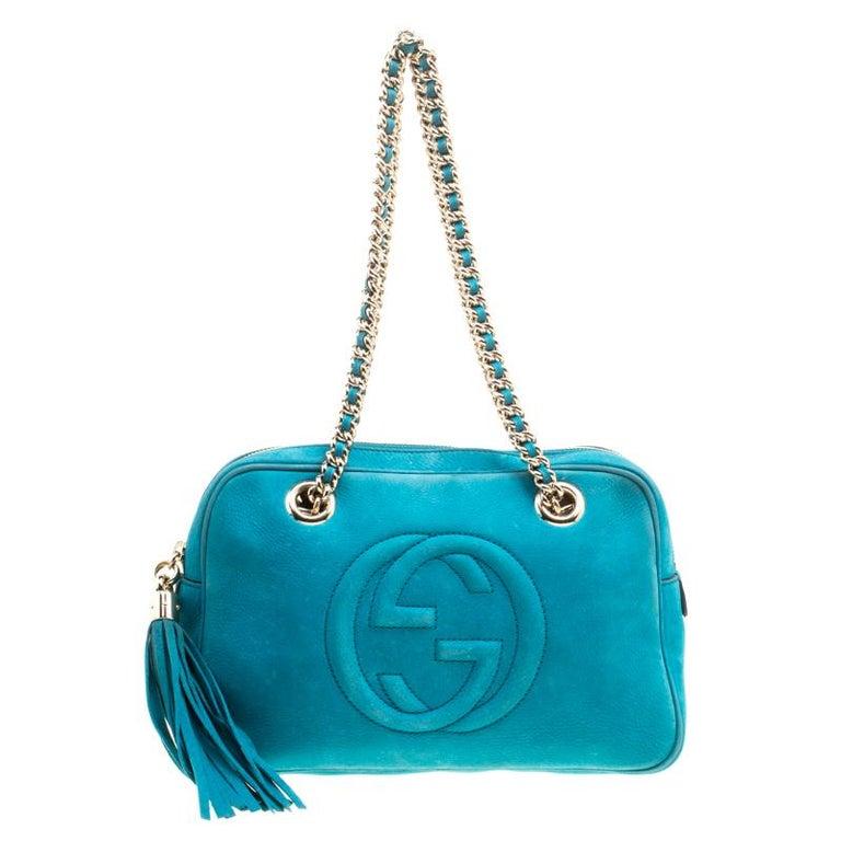 8dd02c2207e Gucci Blue Leather Medium Soho Chain Shoulder Bag For Sale at 1stdibs