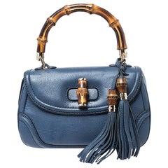 Gucci Blue Leather Medium Tassel New Bamboo Top Handle Bag