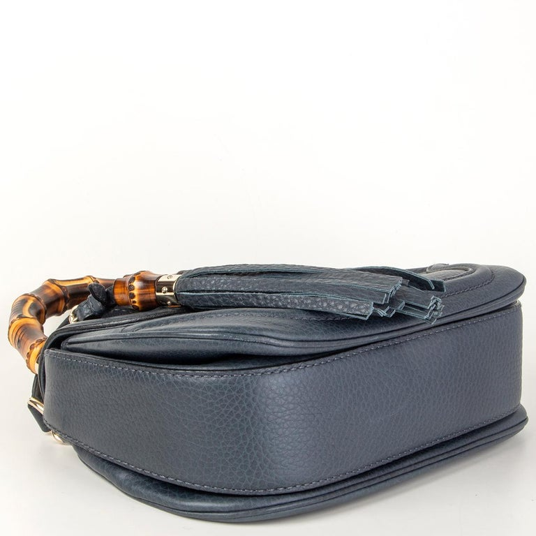 Women's GUCCI blue leather NEW BAMBOO MEDIUM TOP HANDLE Shoulder Bag For Sale