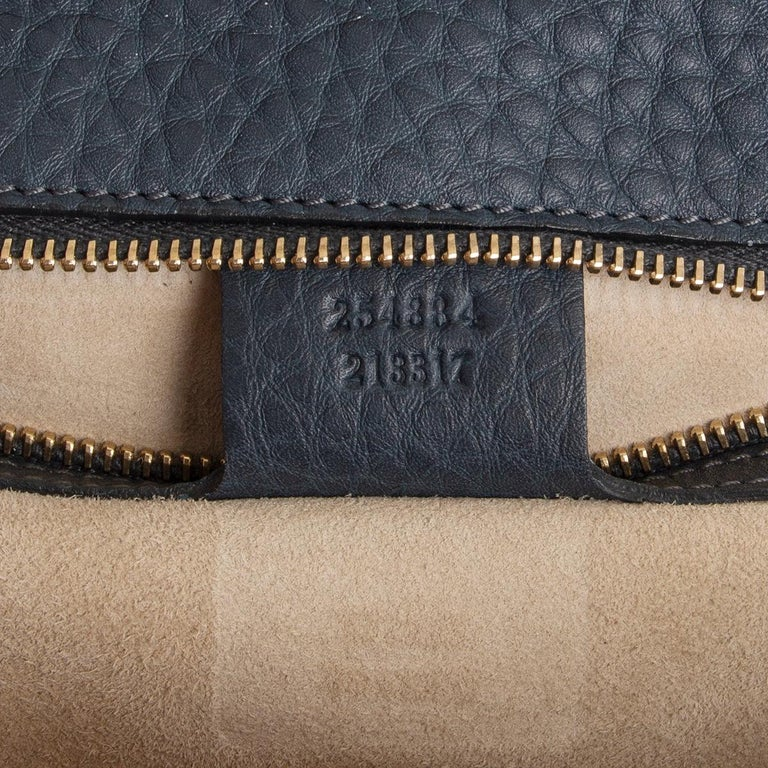 GUCCI blue leather NEW BAMBOO MEDIUM TOP HANDLE Shoulder Bag For Sale 2
