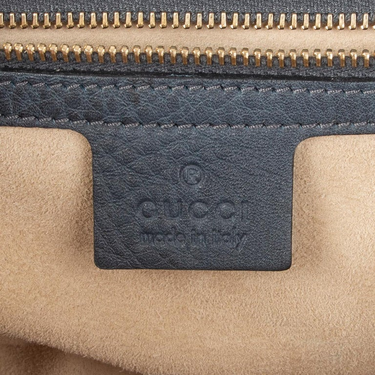 GUCCI blue leather NEW BAMBOO MEDIUM TOP HANDLE Shoulder Bag For Sale 3