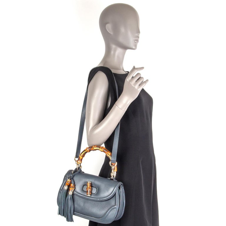 GUCCI blue leather NEW BAMBOO MEDIUM TOP HANDLE Shoulder Bag For Sale 4