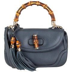 GUCCI blue leather NEW BAMBOO MEDIUM TOP HANDLE Shoulder Bag