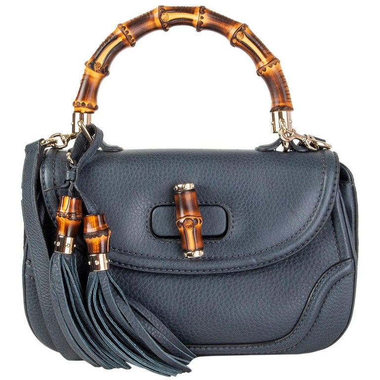 GUCCI blue leather NEW BAMBOO MEDIUM TOP HANDLE Shoulder Bag For Sale