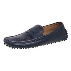 Gucci Blue Leather Penny Slip On Loafers Size 42.5